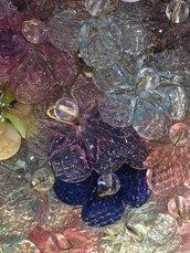 Rosette, pezzi di ricambio per specchi Veneziani e non , con pezzi rotti, in vetro soffiato di Murano, trasparente, polvere oro, rosa