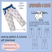 cartamodello in pdf pantaloncino 5 modelli in uno tg 2 a 12 anni