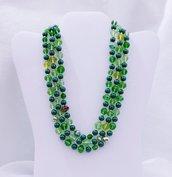"""Collana corta multifilo in cristallo """"Verde Verdissimo"""""""