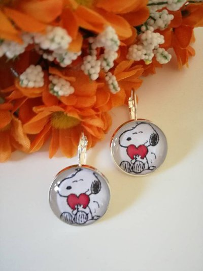 Snoopy orecchini pendenti con cammeo di colore acciaio di 20 mm