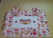 Coprifornetto cupcake, ricamo, punto croce, dolci, cuori