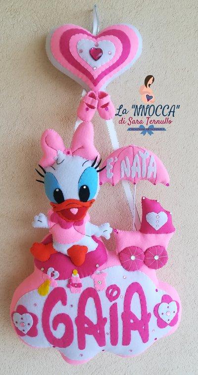 Fiocco / coccarda nascita di Paperina in rosa