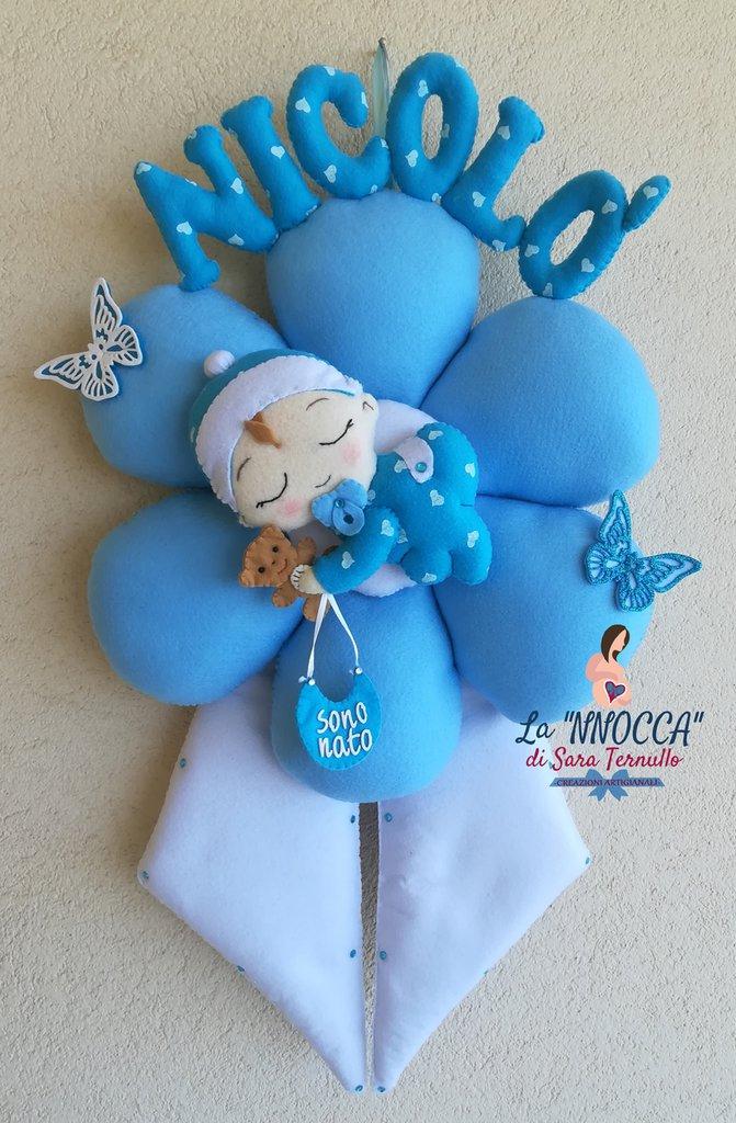 evento nascita, fiocco nascita azzurro a fiore