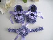 Set coordinato scarpine fascetta neonata uncinetto color lilla fatto a mano idea regalo nascita cerimonia battesimo cotone raso handmade crochet uncinetto