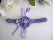 Fascia fascetta neonata uncinetto fiore lilla fatta a mano nascita battesimo cerimonia cotone handmade uncinetto