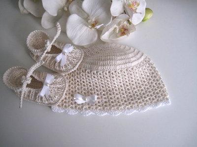 717abcf9fd6 ... Set coordinato color crema cappellino+scarpine neonata neonato unisex cotone  cerimonia nascita battesimo all' ...