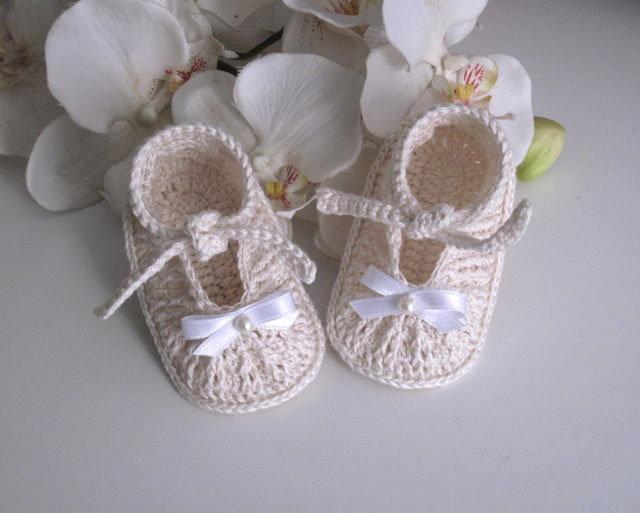 Scarpine crema unisex neonato neonata battesimo cerimonia nascita cotone all'uncinetto