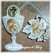 2 stampi in gomma siliconica da colata Calice e foglia Sacra Famiglia