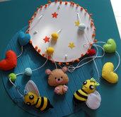 baby mobile - giostrina - decorazione lettino - orso e api