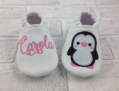 Scarpine ecopelle bianco Pinguino personalizzate con nome - Bimba Neonata 6/12 mesi - Suola antiscivolo