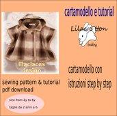 cartamodello mantellina invernale con cappuccio in pdf anni 2 a 6