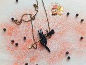 Halloween 🎃 Collana scopa con gatto nero