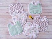 Bavaglini 'Il bosco' / Confezione di 6 bavaglini neonato/double-face con spugna assorbente 100% cotone
