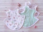 Tris BaByPET, bavaglio, pettorina NEONATO 6/12 mesi senza maniche, multicolore, lavabile in lavatrice