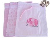 SACCHETTI PRIMO CAMBIO NEONATO NASCITA/BUSTA OSPEDALE NEONATO, 33x30cm circa, rosa, bambina, con coppia di elefanti