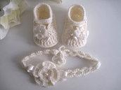 Set coordinato neonata scarpine fascetta per capelli color panna fatto a mano idea regalo nascita cerimonia battesimo lana raso handmade crochet uncinetto
