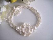 Fascia fascetta per capelli neonata color panna fatta a mano nascita battesimo cerimonia lana handmade uncinetto crochet