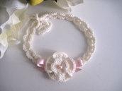 Fascia fascetta per capelli neonata color panna / fiocco rosa fatta a mano nascita battesimo  cerimonia lana handmade uncinetto
