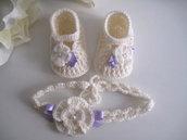Set coordinato neonata scarpine fascetta per capelli color panna / fiocco lilla fatto a mano idea regalo nascita cerimonia battesimo lana raso handmade crochet uncinetto