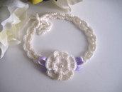 Fascia fascetta per capelli neonata color panna / fiocco lilla fatta a mano nascita battesimo cerimonia lana handmade uncinetto