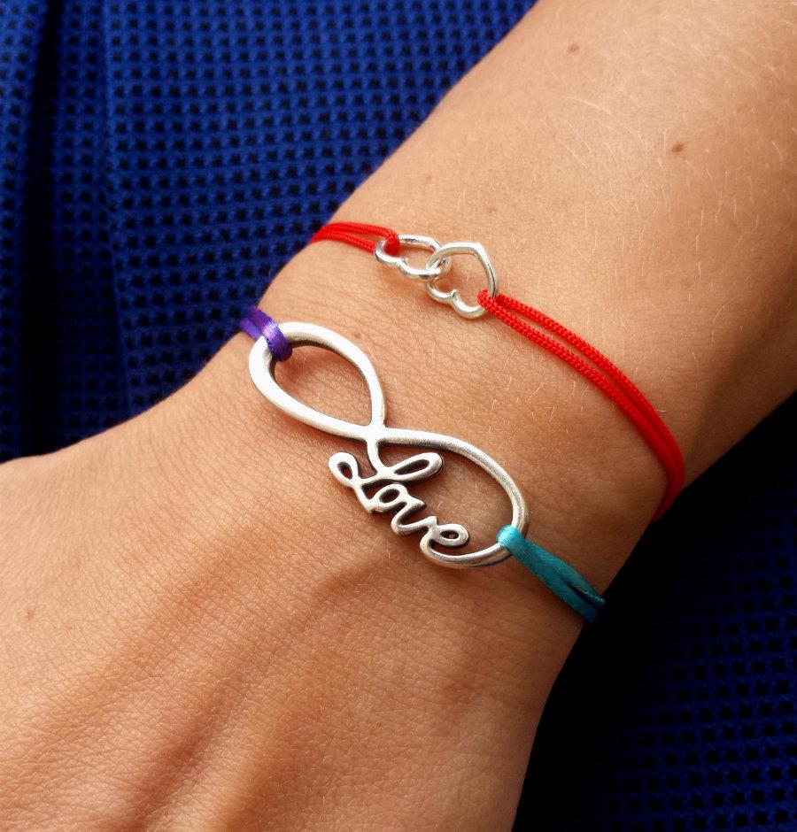 Bracciale di corda con pendente charm in argento Infinito Love, fatto a mano