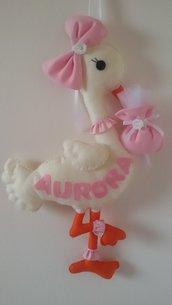 Inserzione riservata relatica a fiocco nascita cicogna rosa con nome Aurora