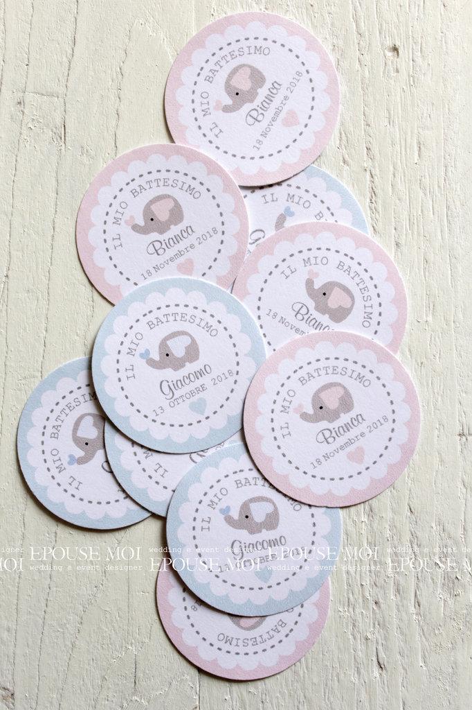 tags etichette bigliettini bomboniere rotondi con elefantino