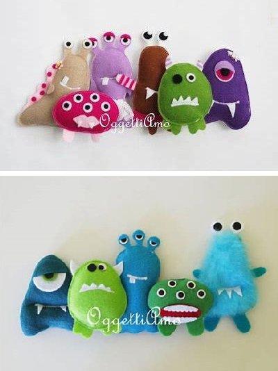 40 mostri di pezza come gadget per le bomboniere del tuo bambino: colorati e originali calamite o portachiavi!