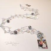 collana crochet con chips opalescenti e ciondolo argento 925