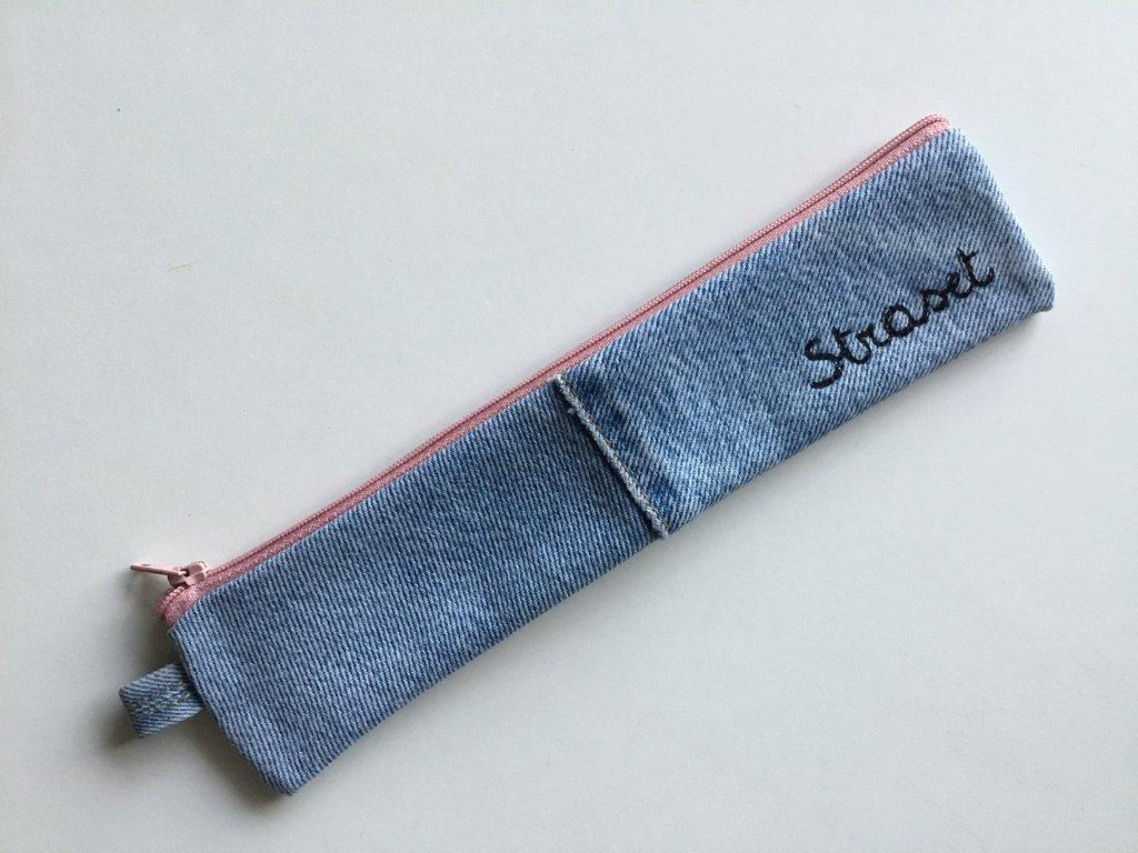 Mini astuccio portapenne in jeans
