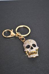 portachiavi donna color oro con strass teschio cranio halloween