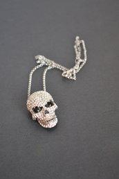 collana donna ciondolo grande teschio cranio argento strass halloween