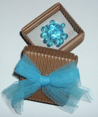 Anello perline vetro azzurro