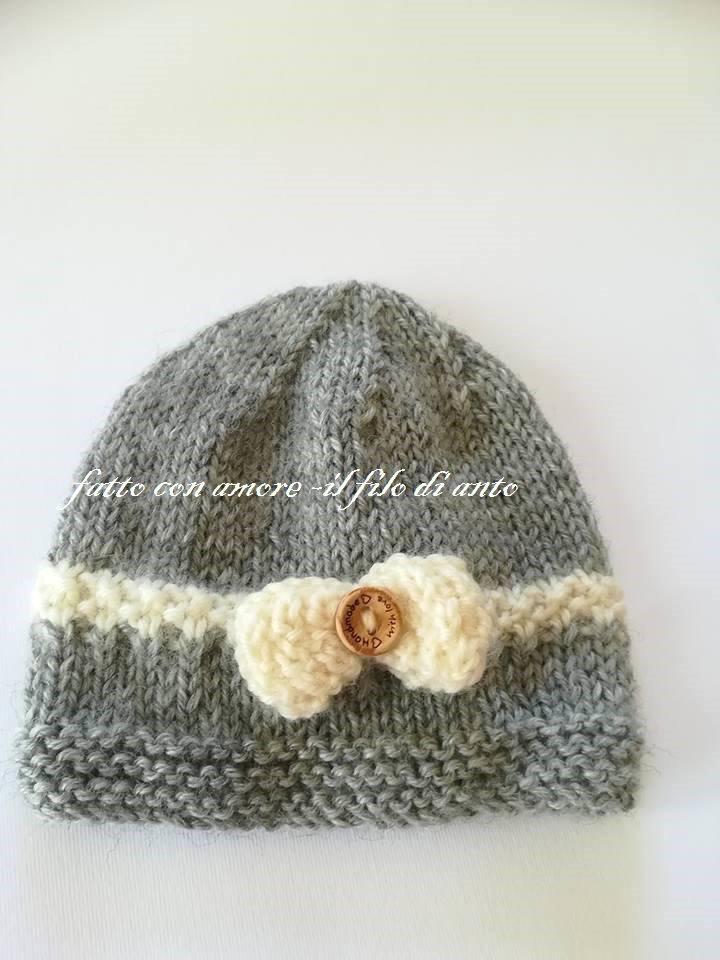 Cappello bambina in pura lana 100% con fiocco color panna
