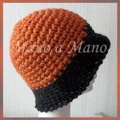 Cappello a cloche - Arancio con tesa Nera