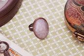 Anello rosa quarzo rame ovale - Gioielli stile vintage shabby antico