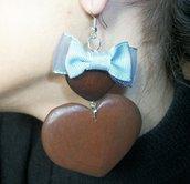 orecchini cuore legno