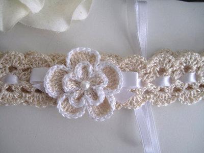 ... Coordinato ecrù scarpine+cappellino+fascetta per capelli neonata  battesimo cerimonia nascita uncinetto d160d1d79018