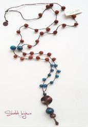 collana crochet stile mala con pietra iolite e semi di rudraksha
