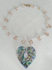collana con vetro di murano e cristallo