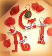 Lettere in legno,segnaposti natalizi