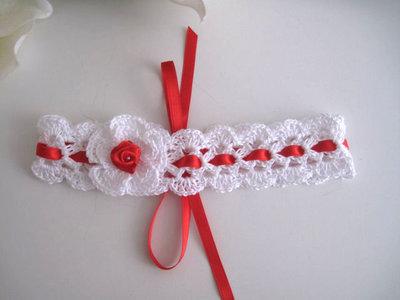 Fascia fascetta per capelli neonata bianca / rossa fatta a mano nascita battesimo cerimonia cotone handmade uncinetto