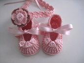 Set coordinato neonata scarpine fascetta per capelli color rosa fatto a mano idea regalo nascita cerimonia battesimo cotone raso handmade crochet uncinetto