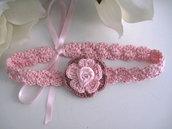 Fascia fascetta per capelli neonata fiore rosa/rosa antico fatta a mano nascita battesimo cerimonia cotone handmade uncinetto