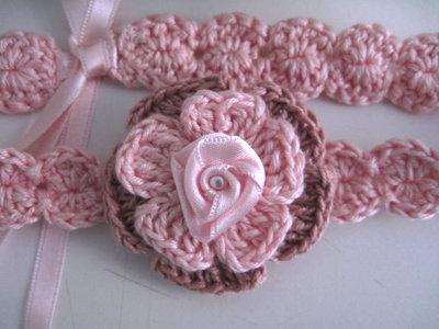 Fascia Fascetta Per Capelli Neonata Fiore Rosarosa Antico Fatta A