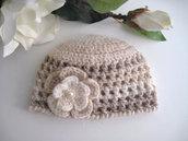 Cappellino neonato neonata unisex melange panna/beige fatto a mano idea regalo corredino nascita cerimonia battesimo lana handmade crochet uncinetto