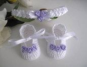 Set coordinato neonata bianco/lilla scarpine fascetta per capelli fatto a mano battesimo cerimonia nascita cotone raso idea regalo uncinetto handmade