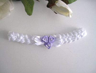 Fascia fascetta per capelli bianco/lilla neonata fatta a mano raso battesimo cerimonia nascita handmade