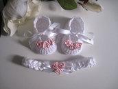 Set coordinato neonata scarpine fascetta per capelli bianco/rosa tenue raso fatta a mano handmade battesimo cerimonia nascita