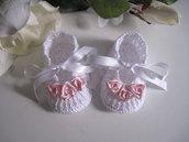Scarpine bianche/rose rosa neonata fatte a mano cerimonia nascita battesimo idea regalo cotone handmade uncinetto
